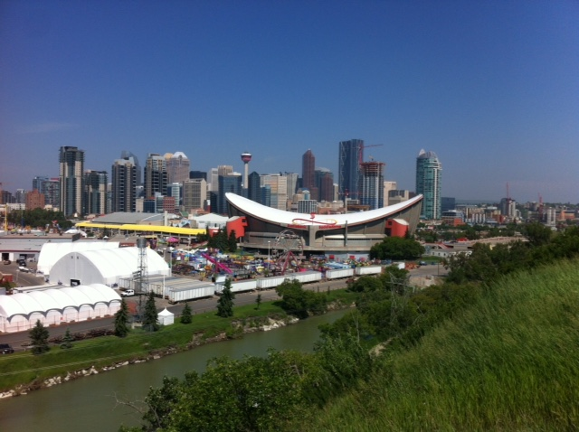 Downtown Calgary Skyline looking over Stampede Park and Scotiabank Saddledome arena