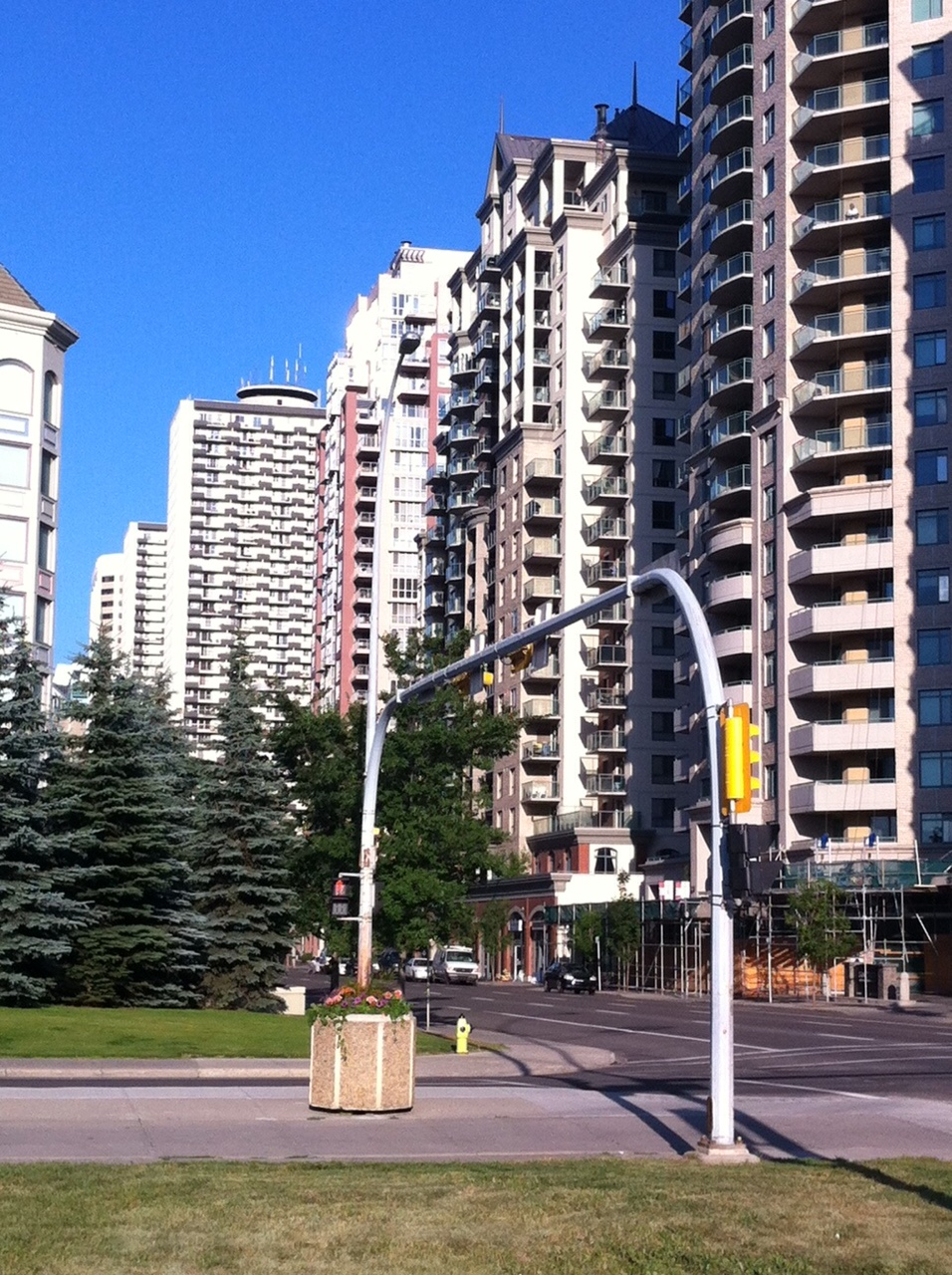 Wall of condos and apartments in the west end of Downtown Calgary.