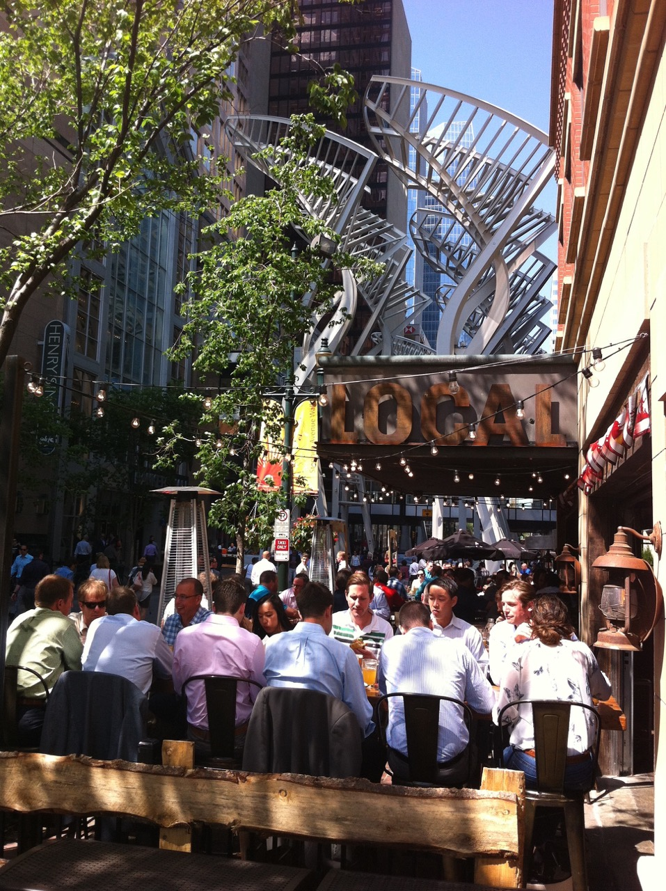 Stephen Avenue is a major restaurant row, that is lined with patios from May to September.