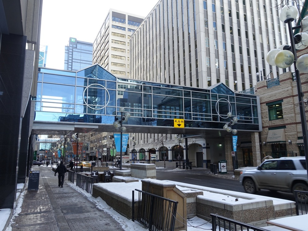 Calgary's CBC has two pedestrian oriented streets with wide sidewalks, planters, banners and other enhancements.