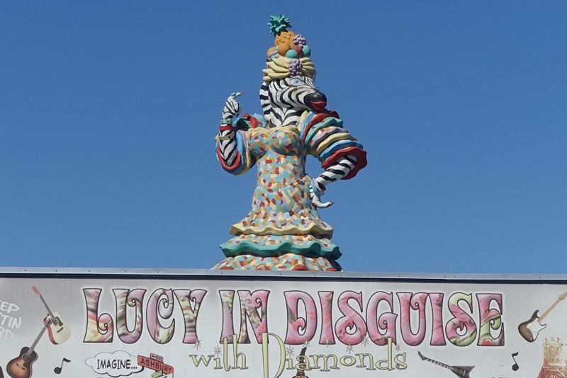 Found Lucy on the roof of a shop along South Congress. Lucy is fun and the play on the Beatles song is also fun.