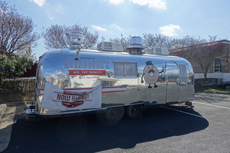 Airstream trailers are everywhere in Austin. You can find them in backyards and front yards on Airbnb. You can find them downtown selling custom designed boots. You can find them selling Big. Fat. Donuts! I even found one at a construction site office.