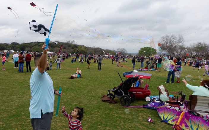 Bubble making fun is also part of the kite festival.