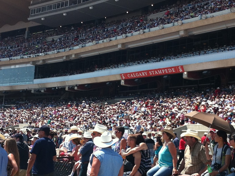 Stampede Grandstand is full for Rodeo, Chuckwagon races and Grandstand show during Stampede.