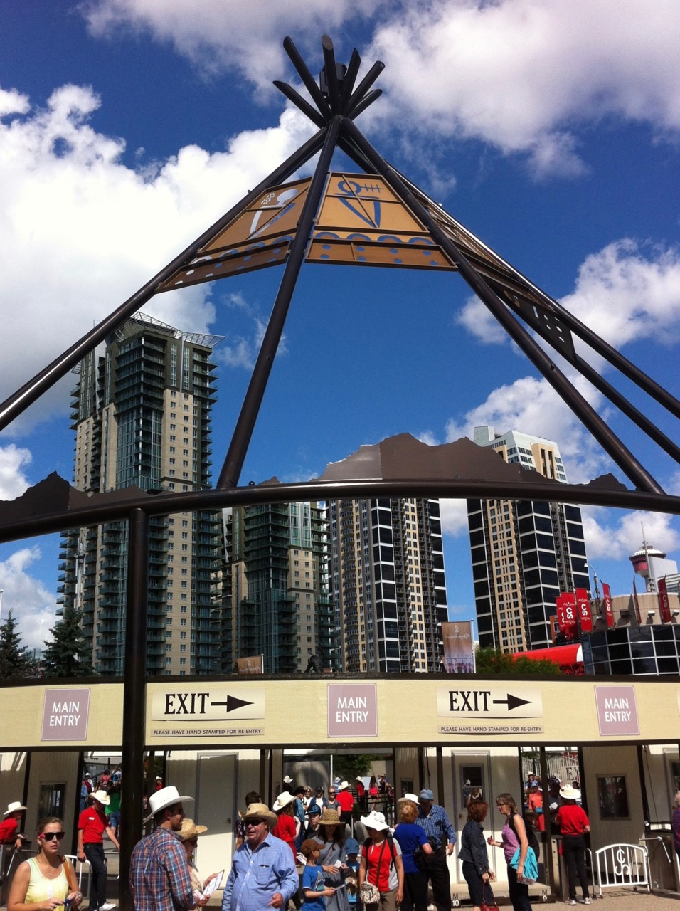 Stampede's Macleod Trail entrance is now being crowed by condo development which is creating new opportunities for Stampede to become a year-round sports, entertainment and educational district.
