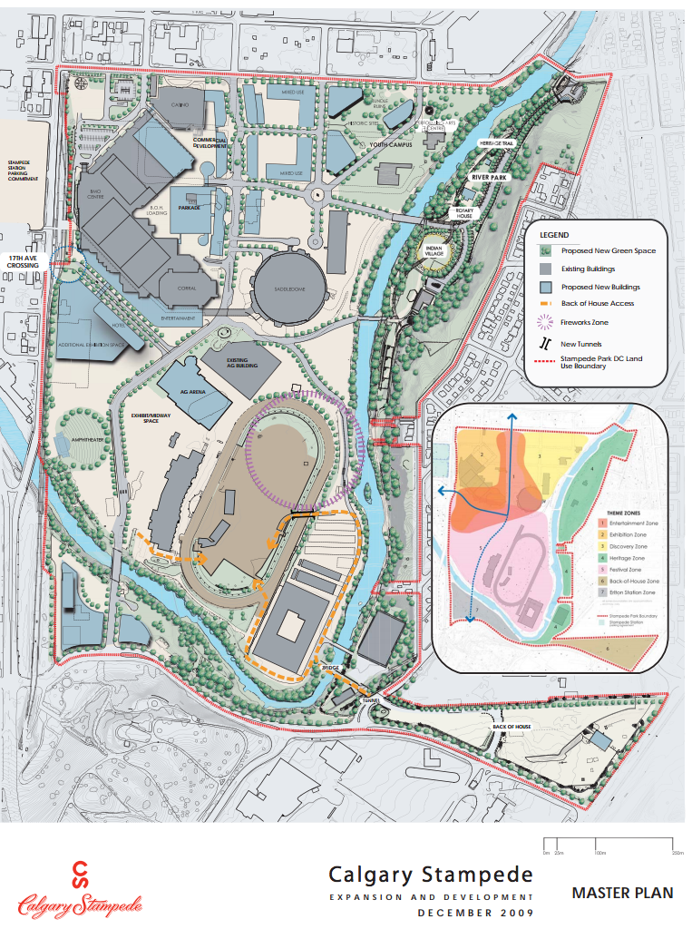 Calgary Stampede Master Plan showing the new Agricultural Building, Youth Campus and several new buildings along 4th Street SE will need to be significantly revised to integrate new develops like Green Line LRT, BMO expansion and Saddledome changes.