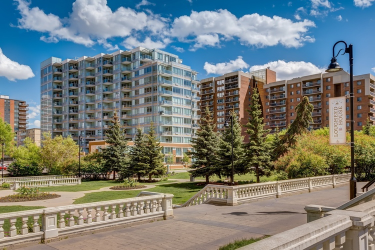 Calla condo next to Lougheed House gardens, is surrounded older mid-rise residential development from the '80s in Calgary's trendy Beltline community.