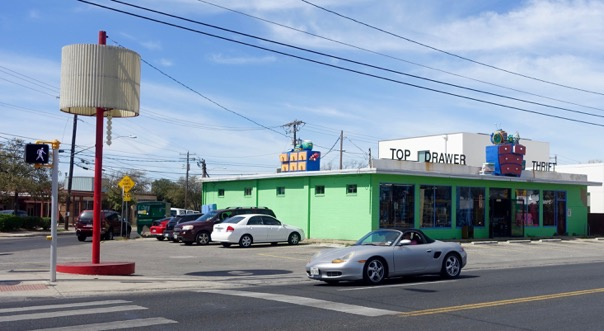 You can't miss Top Drawer Thrift with its huge floor lamp, lime green facade and drawers on the roof.