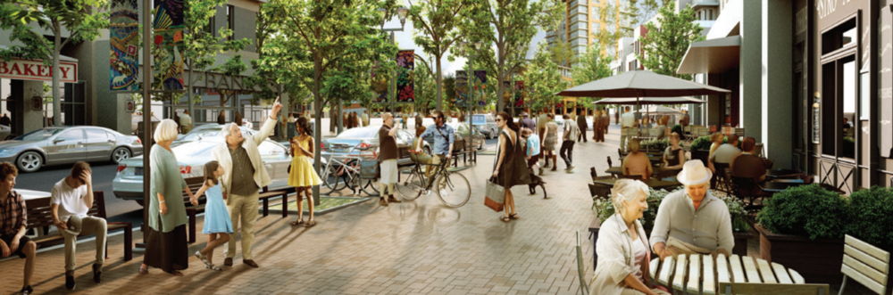 The University District's shopping street will be similar in scale to 10th Street in Calgary's Kensington Village.