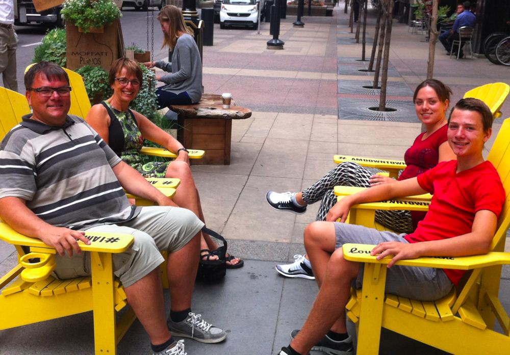 Downtown Calgary tourists enjoying the street life