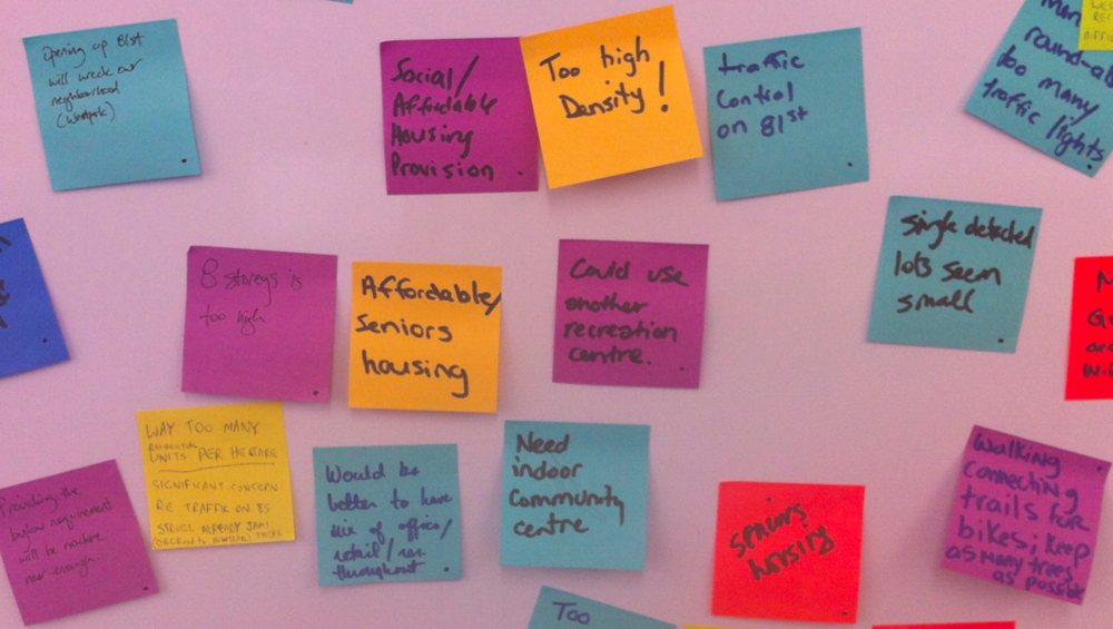 Post-it notes are essential to any public meeting/workshop.