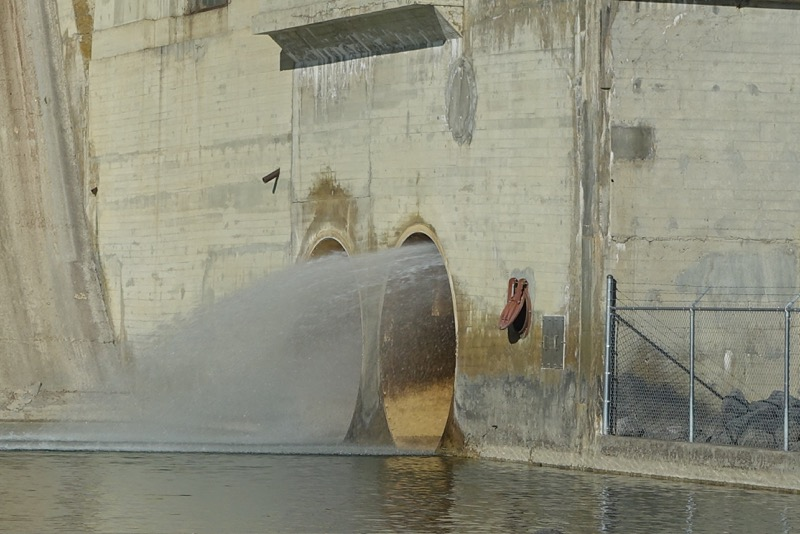 Water rushing out of the Glenmore dam.