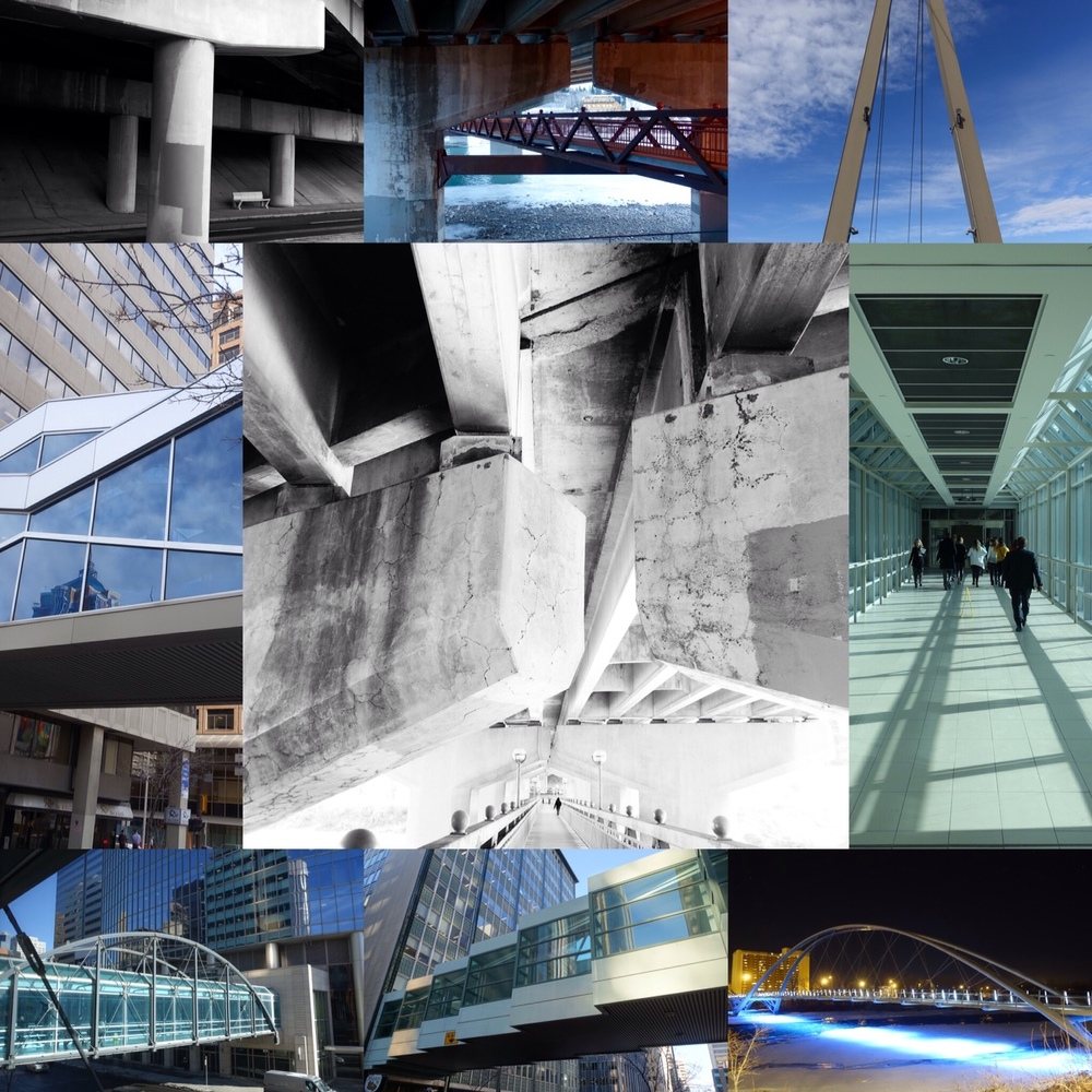 A collage of Calgary's many bridges, from +15 bridges that connect downtown buildings on the second floor to pedestrian bridges over the Bow River. Tale of Three Bridges Link