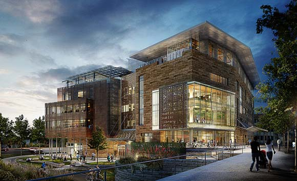 Rendering of Austin's new public library located in the 2nd Street District. The library is under construction.