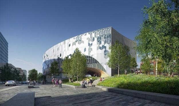 Rendering of Calgary's new public library in East Village, which is also under construction.