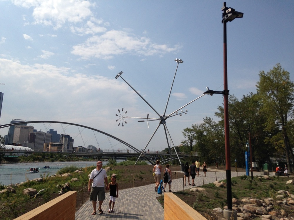 Calgarians love to stroll along the Bow River near downtown.