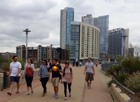 James D. Pfluger Pedestrian Bridge doesn't feel like a bridge, more like a promenade.