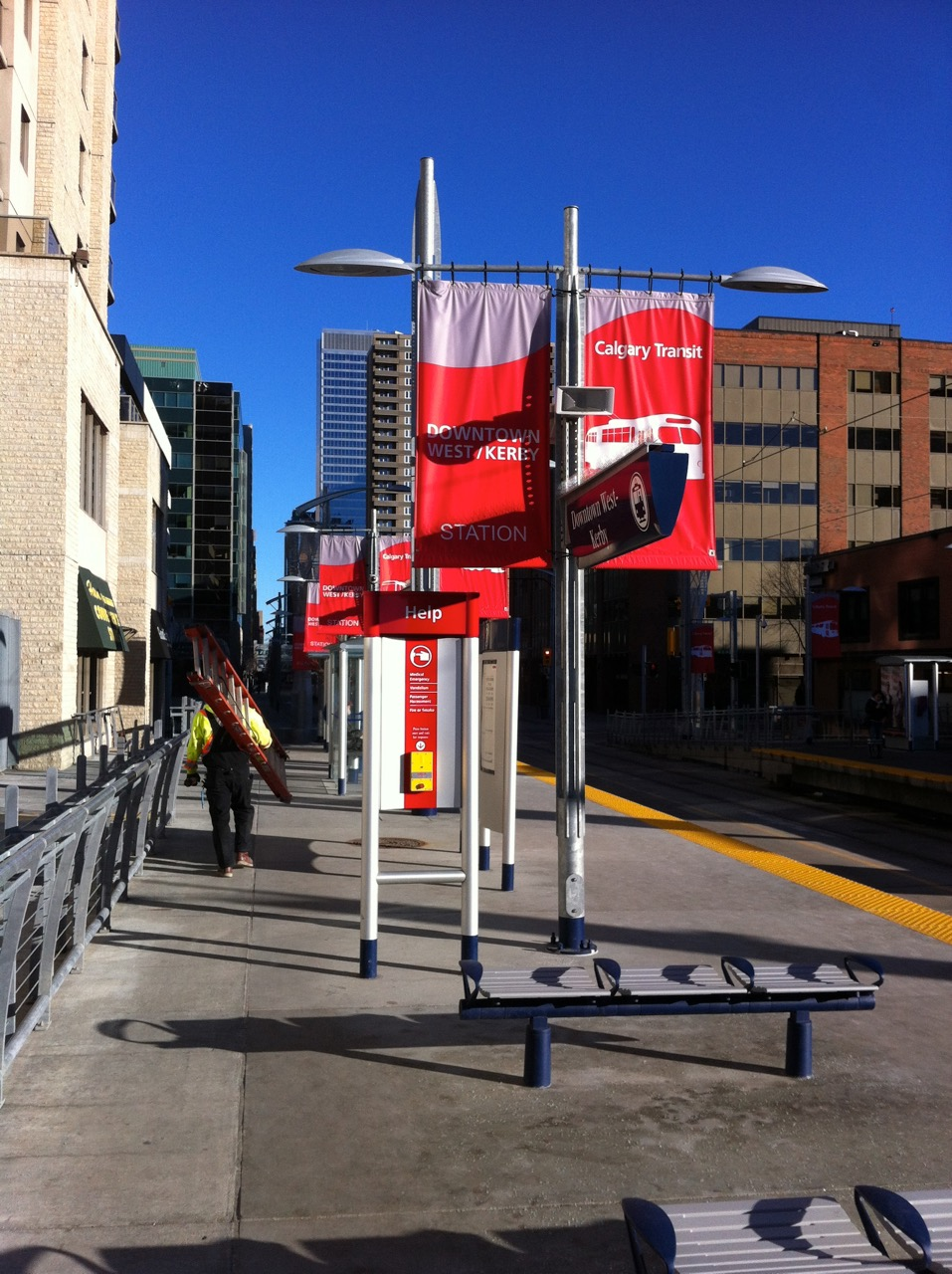 This photo is from a few year back when Kerby Station had banners when it first opened, thanks to Calgary Transit.