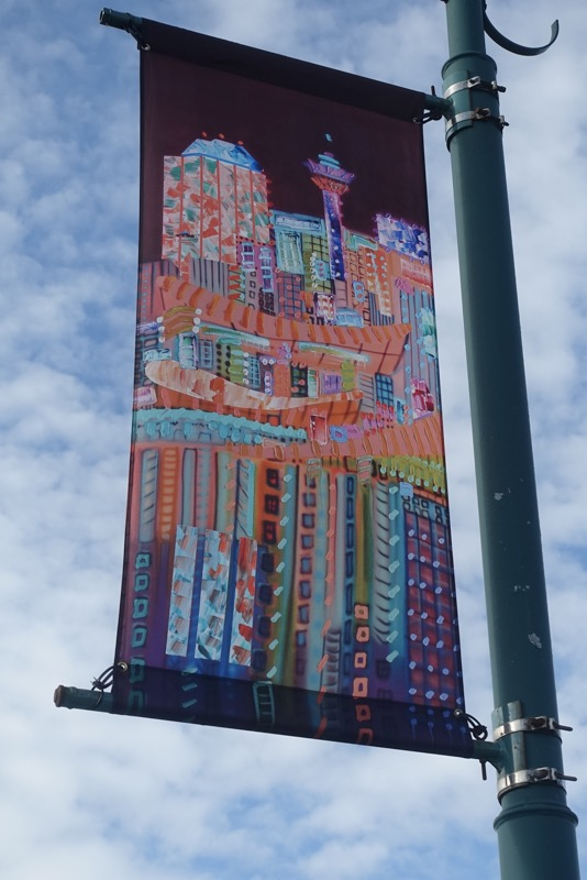 Many of Calgary's downtown bridges have lovely colourful banners that change on a regular basis.