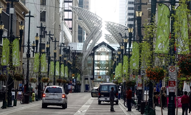 Stephen Avenue has banners that change with the seasons and help make the street a more cheerful place for pedestrians.