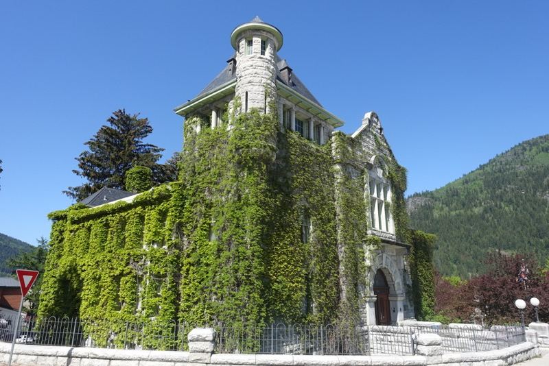 There are many wonderful turn of the century buildings like this courthouse in downtown Nelson .