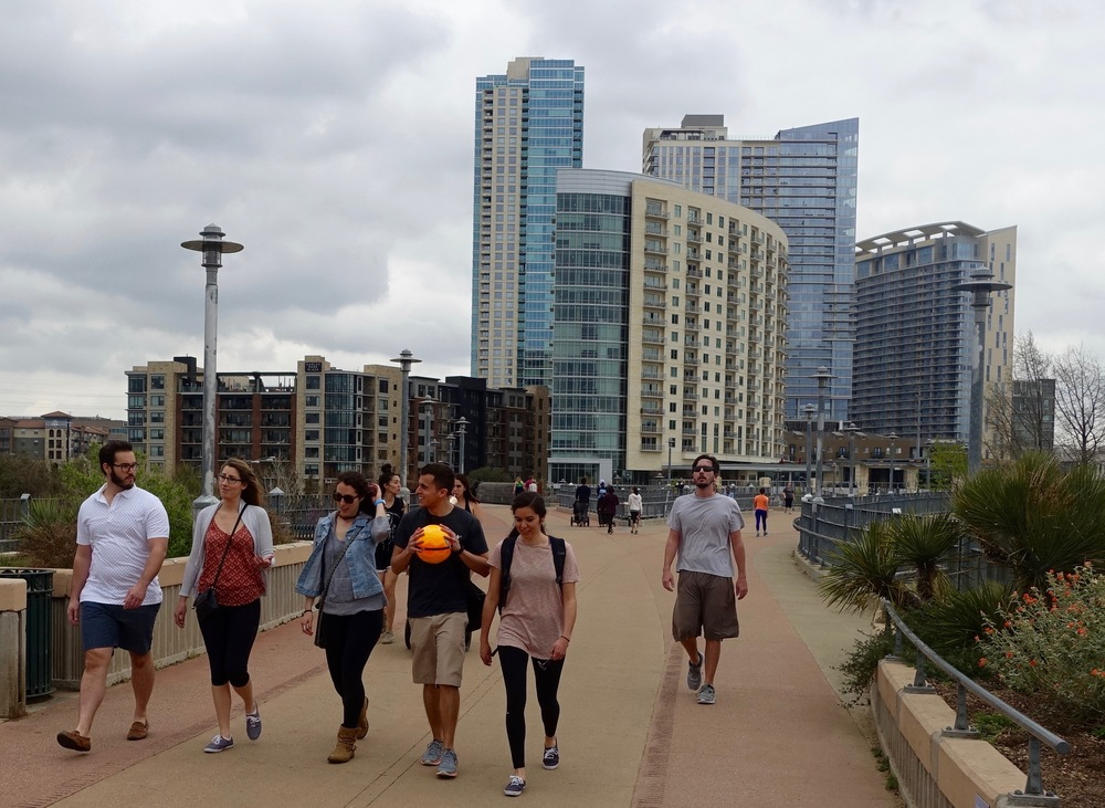 Like Calgary, Austin is young and active.  This is the pedestrian bridge over the Lady Bird Lake, aka Colorado River with Austin's 2nd Avenue condos in the background that look very much like Calgary's East Village.