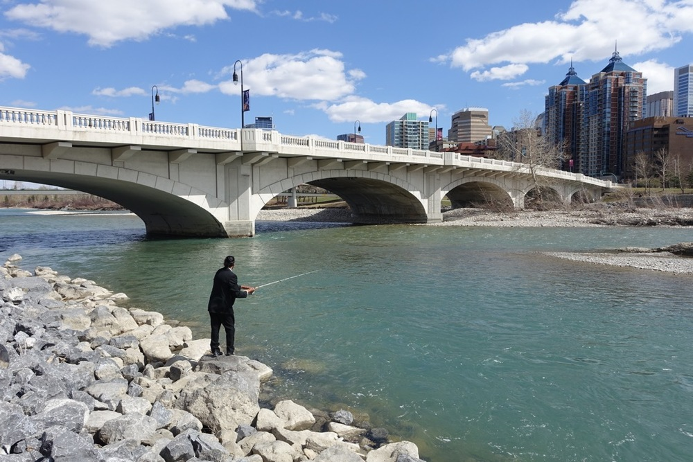 Fishing on the Bow River in Calgary.