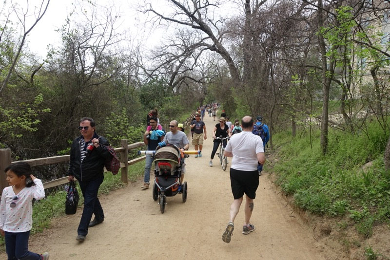 Austin's river pathways are very popular on weekends.