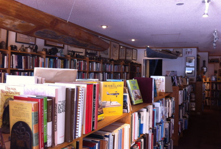 Everything at Aquila is carefully curated for the serious book collector.  Note the two Inuit kayaks hanging from the ceiling.