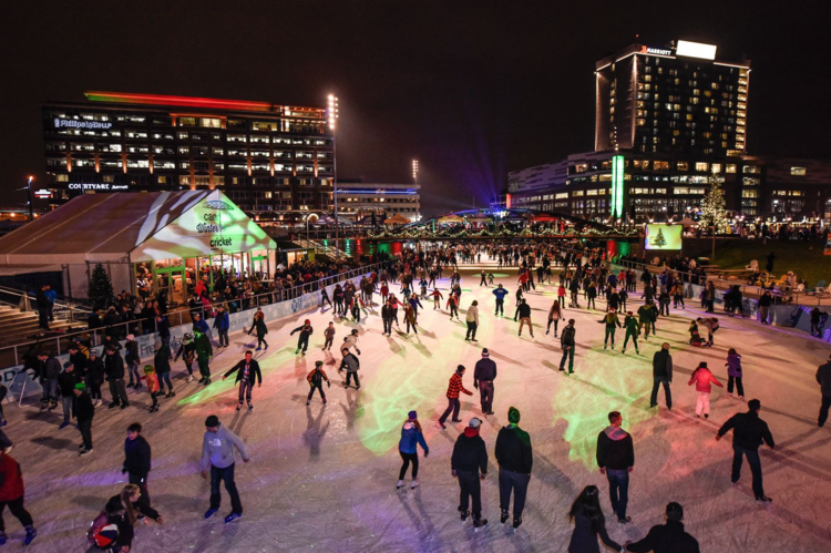 Buffalo's Canalside development development is animated year round. (photo credit: Joe Cascio)