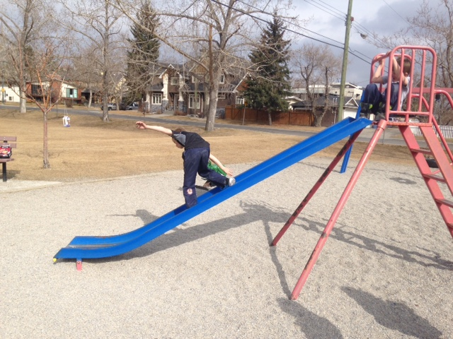The old slide was good for practicing your snowboarding skills.