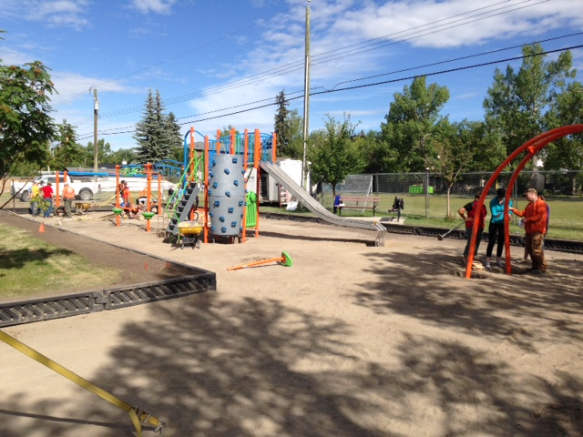Ready for the gravel, inspection and then reopening of the playground.