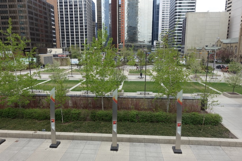 The Hochkiss Gardens with its trees, public art and lawn is a very attractive public space in the heart of downtown Calgary along the 7th Ave Transit Corridor. There is literally a park, plaza or garden every two blocks along the corridor.