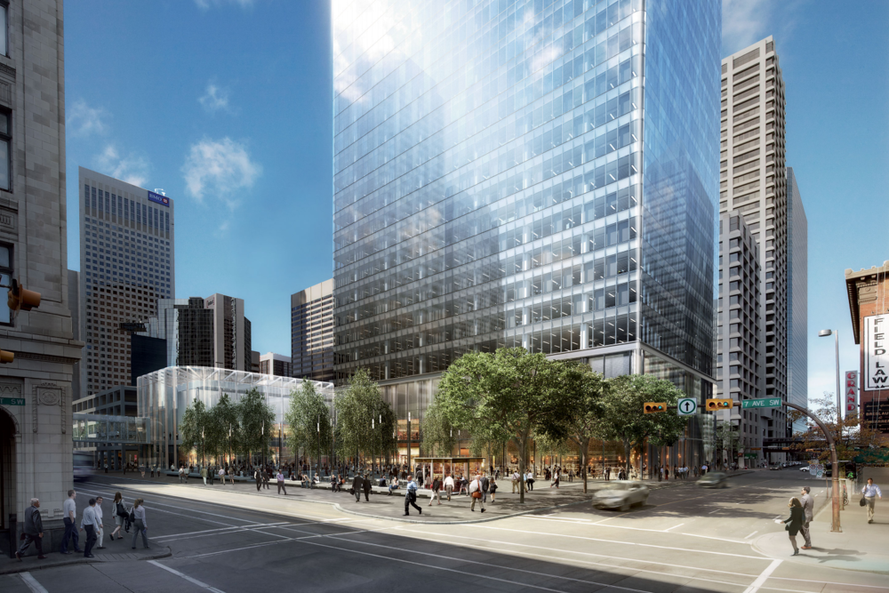 Brookfield Place when completed will add a new plaza to 7th Avenue with a grand entrance unlike office tower built along 7th Ave in the '70s and '80s.