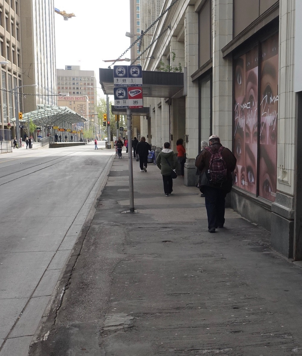 The side walk along 7th Avenue at the Hudson's Bay department store is an embarrassment.