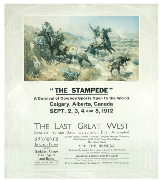 Calgary Stampede's first poster. Note the first Stampede took place in early September.