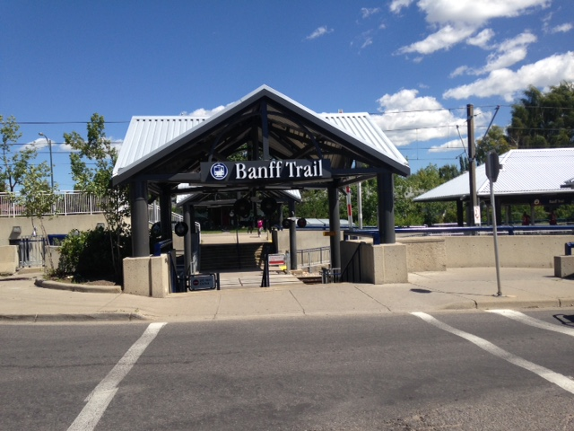 Banff Trail LRT station design appropriately looks a bit like a hiking hut or shelter.