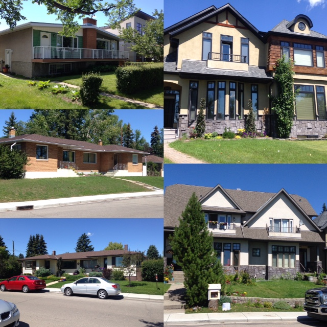 In this collage you can see mid 20th century duplexes that are dotted throughout Calgary's established communities. On the right you can see the two-storey duplexed that are replacing single homes in almost every Calgary community.