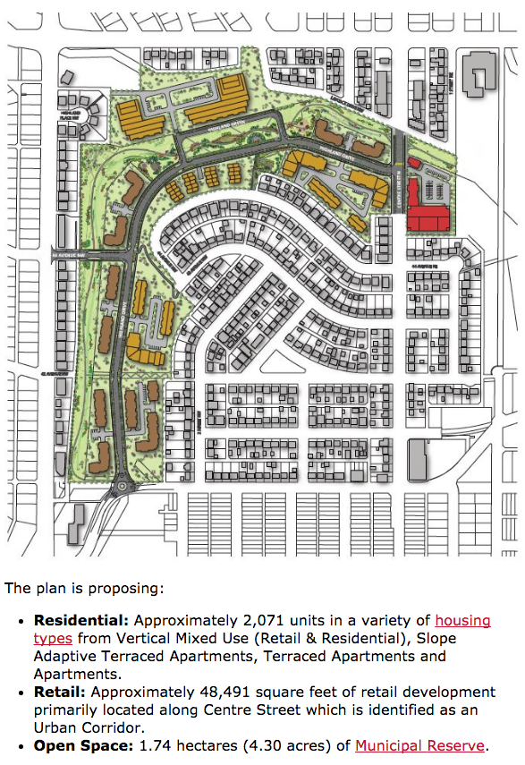 Red area is retail, brown and gold areas are residential buildings. (from City of Calgary website)