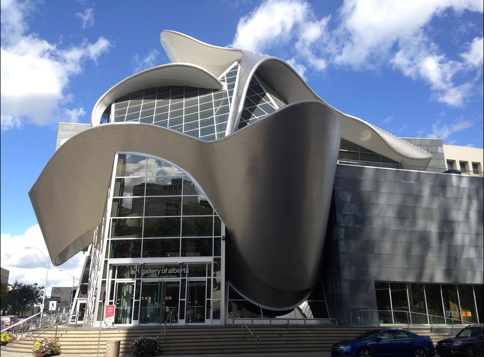 Art Gallery of Alberta is a flashy, wacky Frank Gehry imitation building.