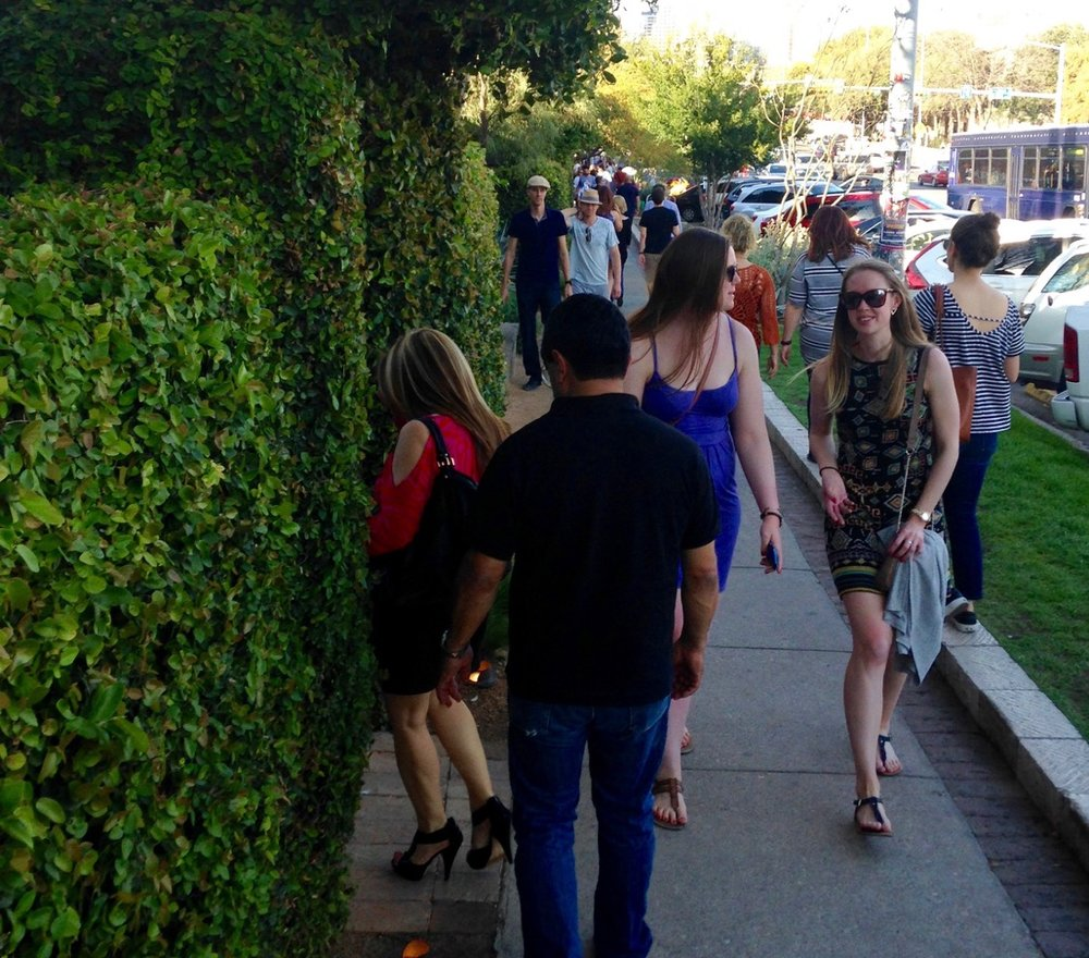 South Congress Avenue's sidewalks on Saturday afternoon have a festival-like atmosphere.
