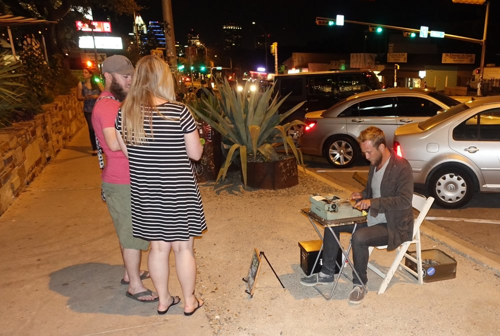 We loved this busker on South Congress who would create a poem on the spot based on the subject of your choice.  We had him create a poem about thrifting...we loved it.