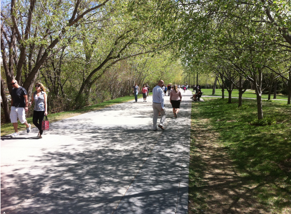 Eau Claire's River Promenade is enjoyed by thousands at noon hour on weekends and all day on weekends.