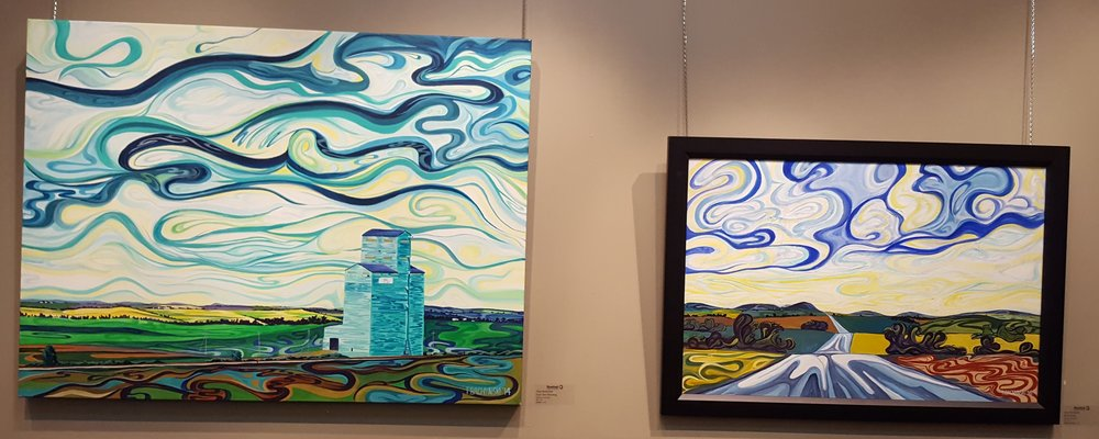 Terry Bachynski's playful prairie paintings inspired by trips to Rosebud, Alberta