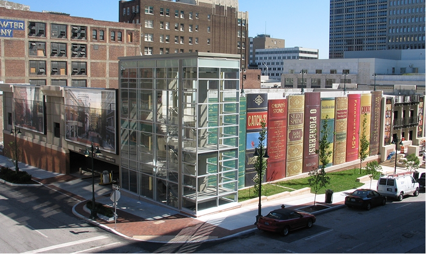 "Kansas City Central Library parking garage is called the ""Community Library."" The facade consists of 22 huge books whose titles were suggested by the public and chosen by the Library's Trustees."