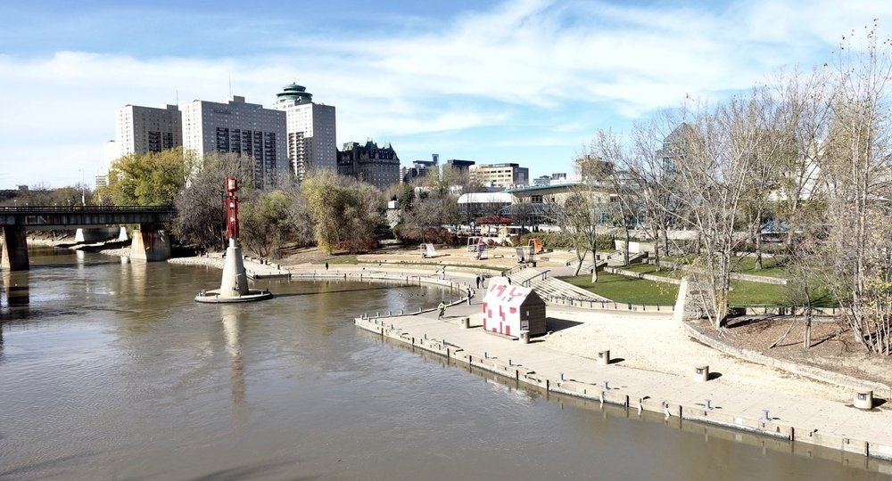The Fork's river landing and pathway along the Assiniboine River just before it flows into the Red River.