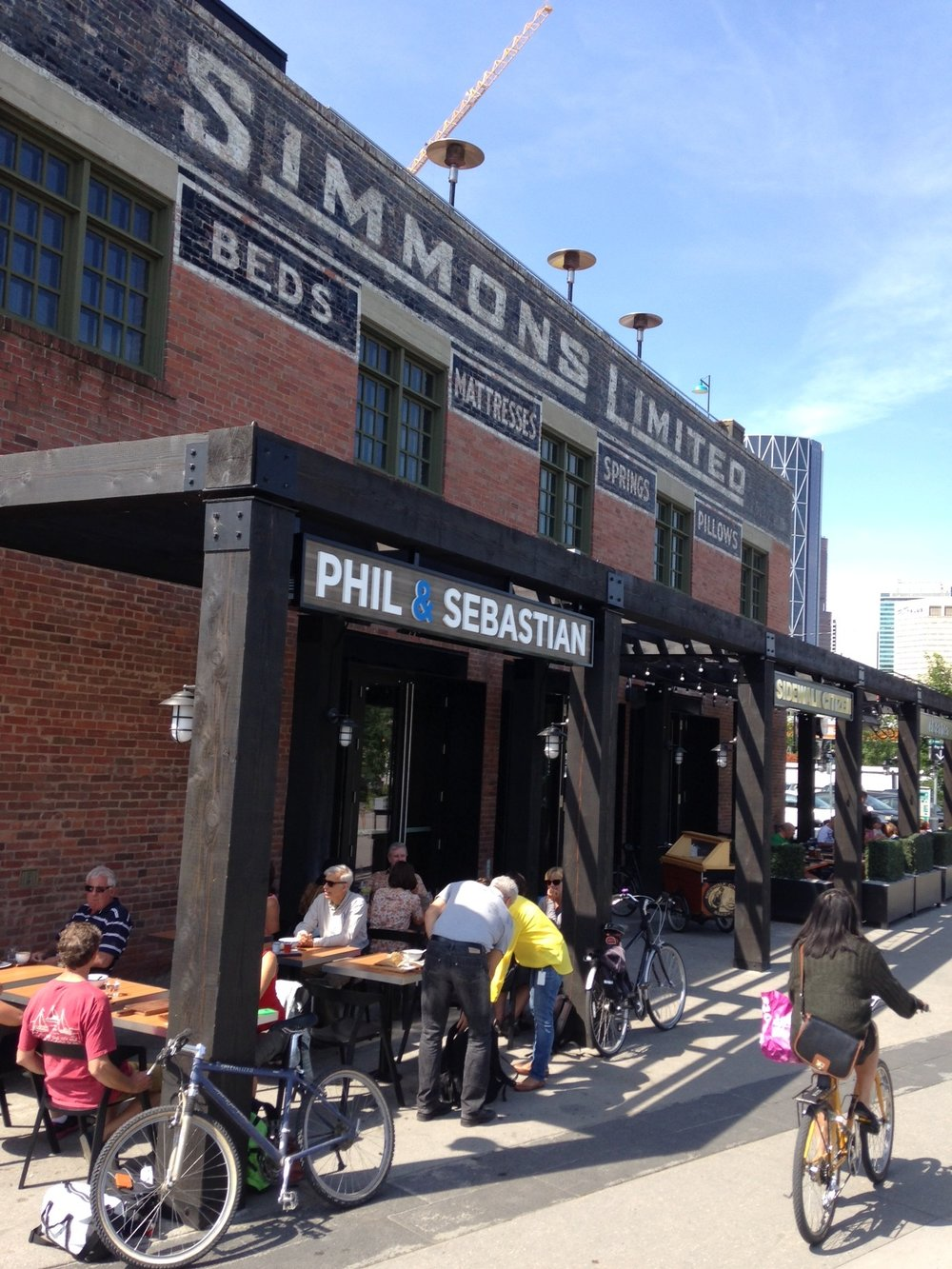 East Village: The Simmons building has an upscale restaurant, cafe and bakery.