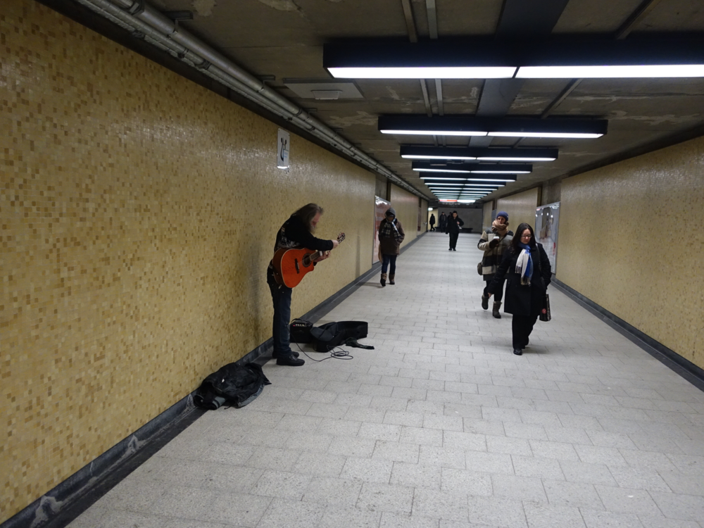 Busking in one of Montreal's tunnels.
