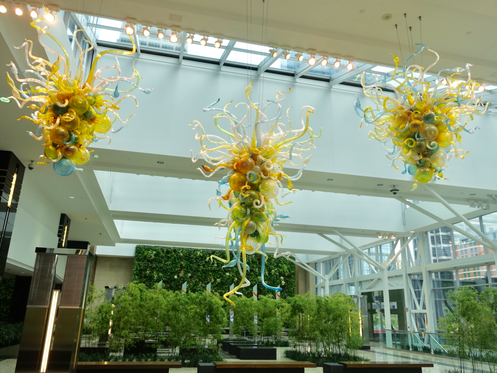 Calgary's equivalent would be Jamieson Place's winter garden with its infinity ponds, Dale Chihuly glass sculptures and living wall.