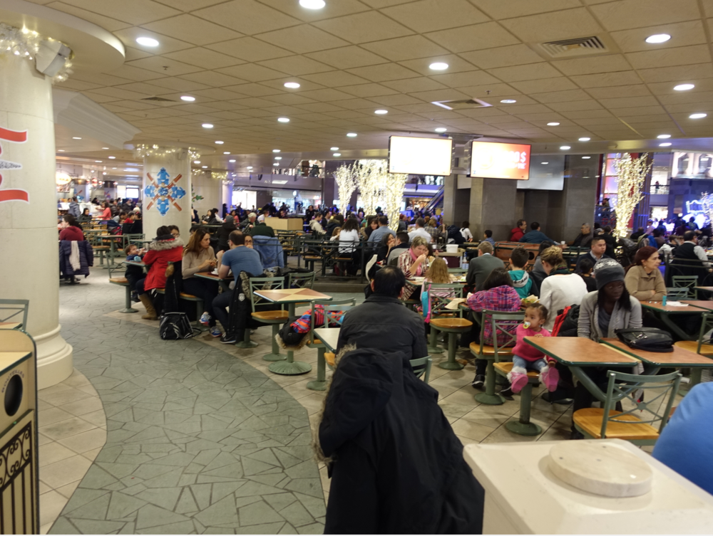 Complexe Desjardins food court on the weekend in December is packed.